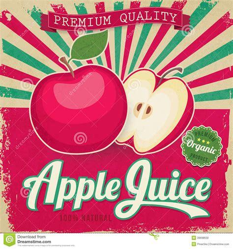 Colorful Vintage Apple Juice Label Stock Illustration