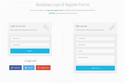 Bootstrap Login And Register Forms In One Page 3 Free Templates Azmind Bootstrap Templates For Registration Form