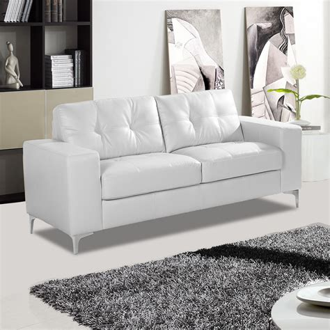 Sofa White Leather Pinto Italian Inspired White Leather Sofa Collection With Chrome Stiletto