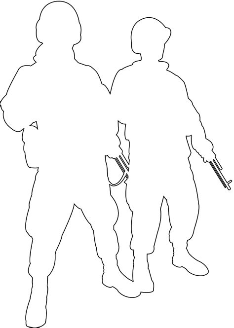 Soldier Drawing Outline by Soldier Silhouette Outline Sketch Coloring Page