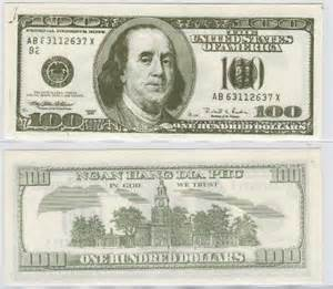 prop money template actual size of 100 dollar bill images