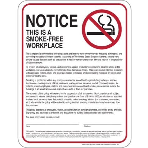 no smoking signs 7 quot x10 quot interior signs seton smoke free workplace policy posters 8 1 2 quot w x 11 quot h seton
