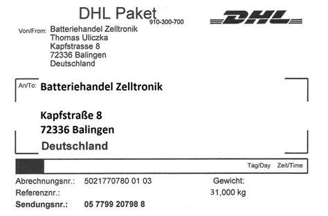 Dhl Paketschein Drucken by Paketschein Zur Bleibatterie Entsorgung Bis 31 5kg