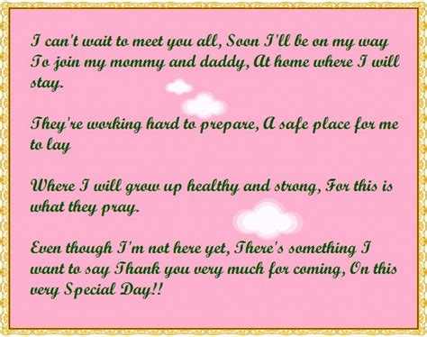 baby poems for baby showers baby shower thank you poems from unborn baby