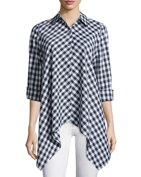 Goin Gingham by Go Silk Drama Gingham Handkerchief Shirt