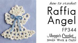 crochet pattern rt hand free how to raffia angel ornament fp344 youtube