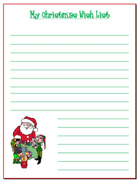 search results for santa claus wish list template