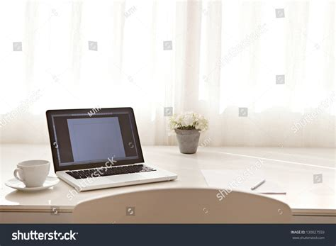 Desk Interior by Wide View Work Desk Interior Laptop Stock Photo 130027559