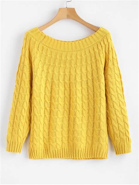 boat neck sweater outfit 2018 boat neck cable knit sweater in yellow one size zaful