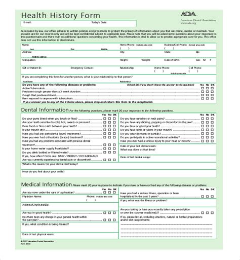 21 Sle Medical History Forms Sle Forms Dental Office Forms Templates