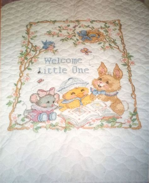 Cross Stitch Baby Quilt Patterns by New Baby Quilt Cross Stitch Crafts By Firdes
