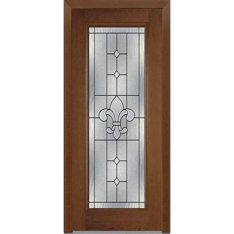 Decorative Glass For Doors Mmi Door 37 5 In X 81 75 In Carrollton Decorative Glass Lite Oak Finished Fiberglass