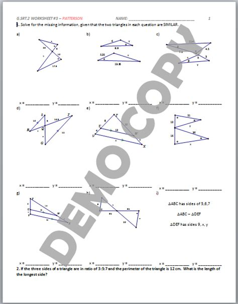 Similarity Worksheet