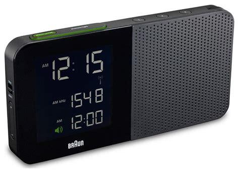 digital alarm clock radio black braun modern by horne