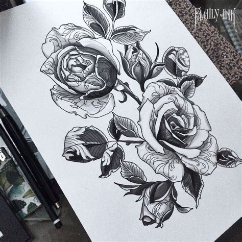 family rose tattoo sketch by family ink lacetattoo flowertattoo