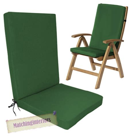 Garden Chair Cushion Pads by Green Water Resistant Highback Garden Dining Chair Back