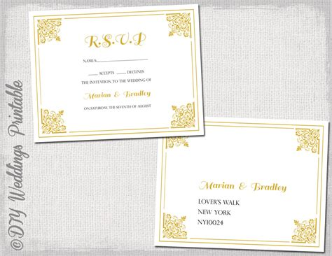 rsvp postcard template free rsvp postcard template diy gold classic