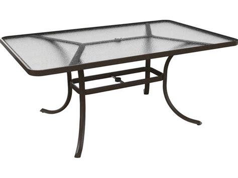 Tropitone Patio Table Tropitone Cast Aluminum 66 X 40 Rectangular Acrylic Dining Table With Umbrella 1866au