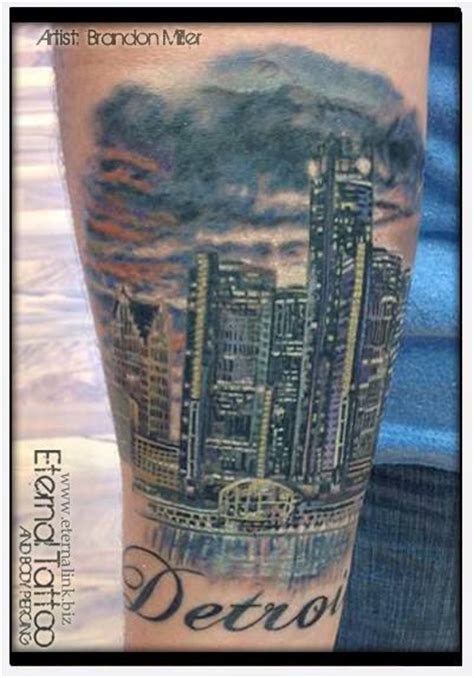 detroit skyline tattoo colors and detroit on