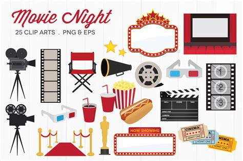 cute movie themes movie night clip art illustrations on creative market