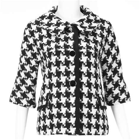black and white coat pattern vancl houndstooth pattern short coat black white