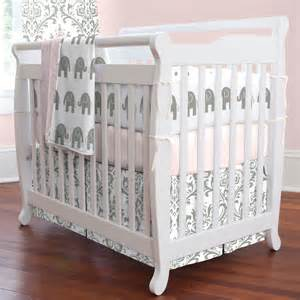 Gray And Pink Crib Bedding Set Pink And Gray Elephants Mini Crib Bedding Bedding Sets Pink Crib Bedding And Carousels
