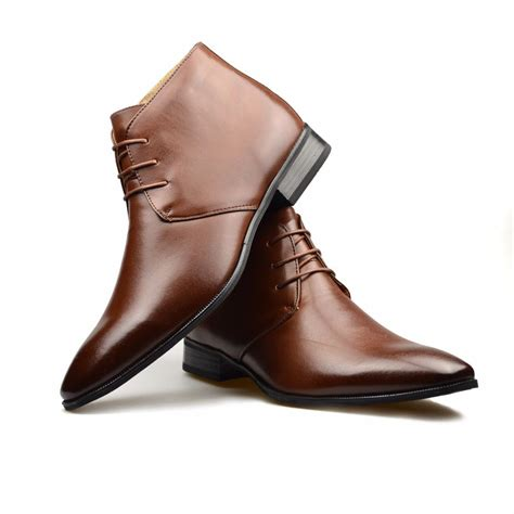 formal boots for mens mens brown leather smart formal casual lace up boots shoes