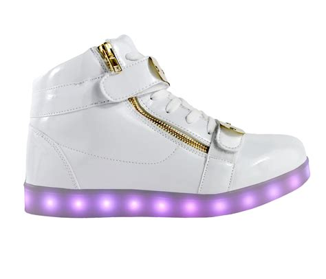 white light up shoes galaxy led shoes light up usb charging high top plated