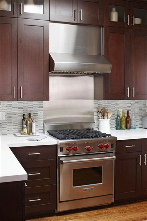 stainless steel backsplash contemporary kitchen stainless steel range