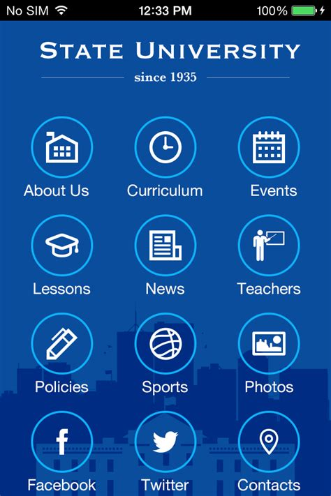 App Design University   use state university 2 to make your free mobile app