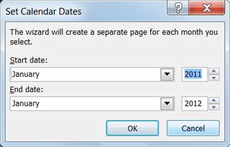 change the dates on a calendar in publisher