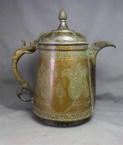 Coffee Indo antique inscribed copper ewer coffee pot indo