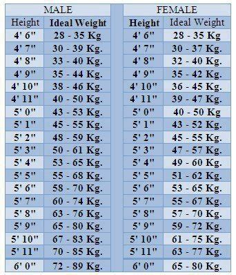 Ideal Picture Height | ideal height and weight chart