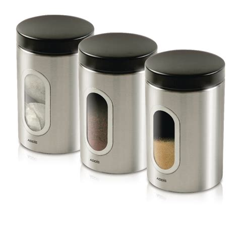 kitchen canisters stainless steel kitchen canisters set of 3 silver stainless steel kzocs
