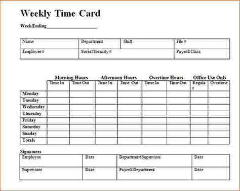 excel template card timecard template excel template business