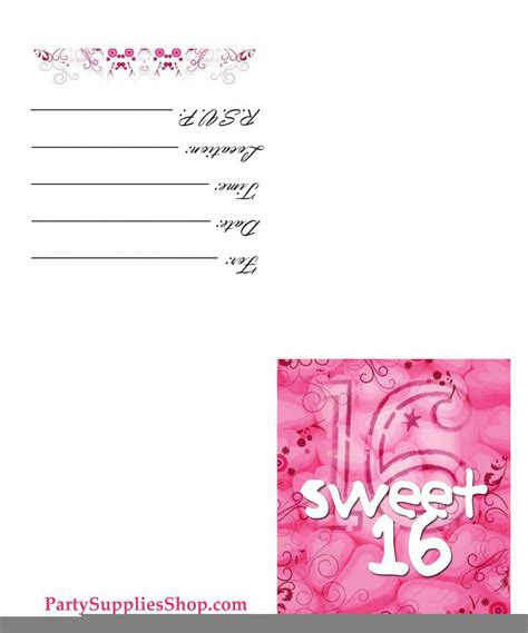 16th birthday card template free printable sweet 16th birthday invitations