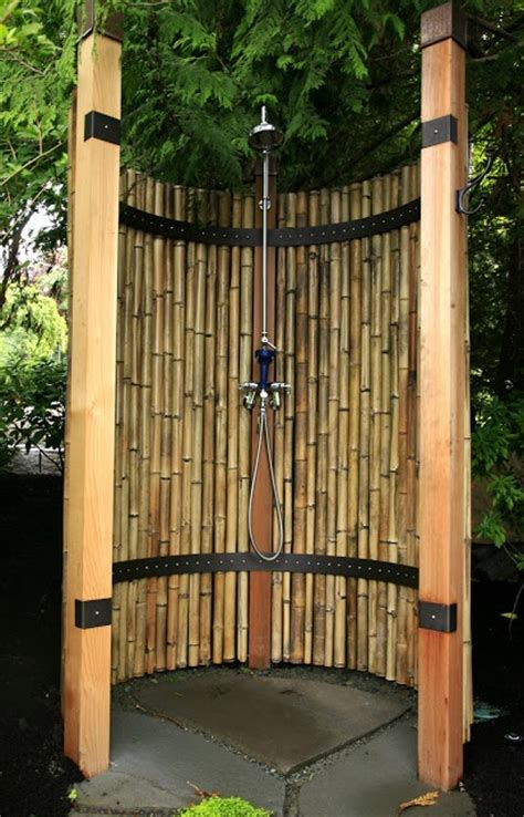Bamboo Shower by The Outdoor Shower Delight In The Garden Ideas For