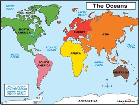 world map image oceans world map with countries and oceans