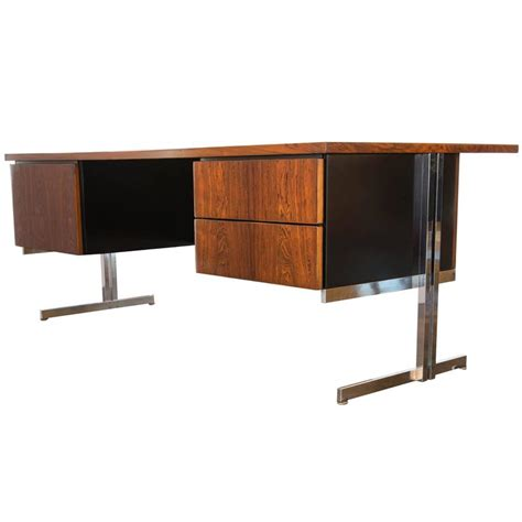 vintage rosewood and chrome executive desk at 1stdibs