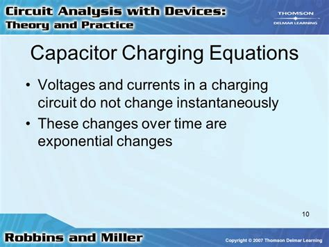capacitor circuit equations capacitive charging discharging and simple waveshaping circuits ppt