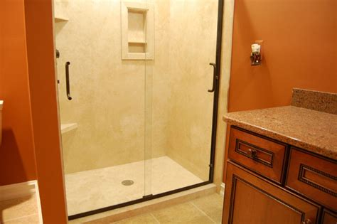 flexstone walls with shower base