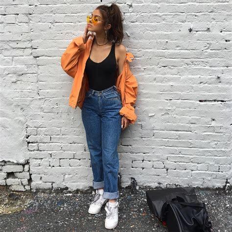 90s fashion, bomber jacket, mom jeans   @itsangiee   90s