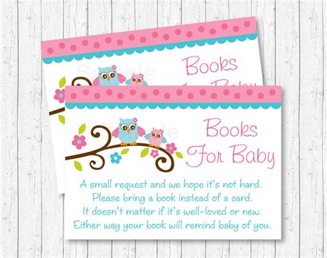 pink owl baby shower book request cards owl baby shower