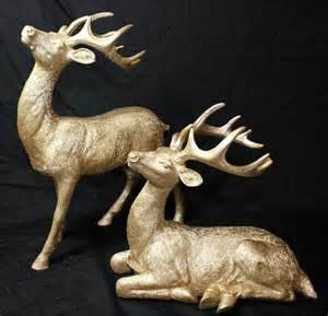 new set of 2 gold chagne glitter christmas reindeer