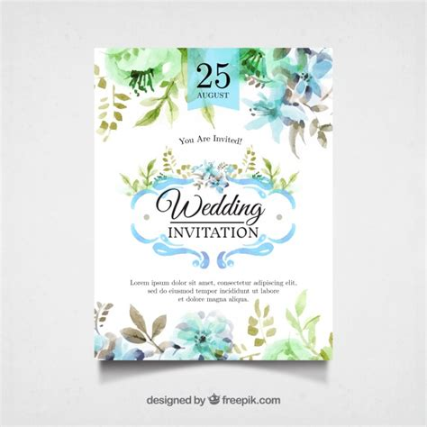 Pretty Wedding Invitations by Watercolor Wedding Invitation With Pretty Flowers Vector