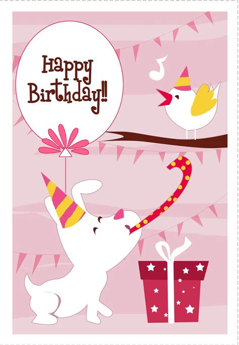 printable birthday cards with dogs free printable dog n bird greeting card birthday pinterest