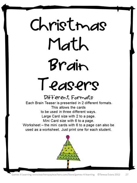printable christmas riddles brain teasers fun games 4 learning christmas math games