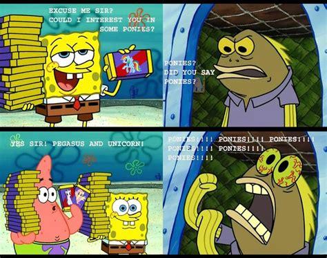Spongebob Chocolate Meme - spongebob chocolate guy going crazy over ponies mlp