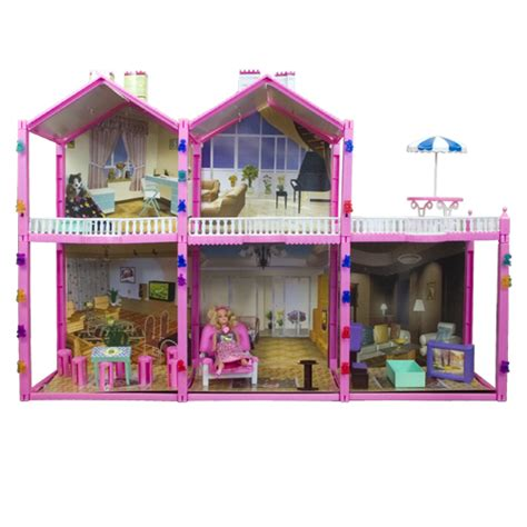Large 139 Pc Doll House Set 2 Story 6 Rooms Fits Barbie Size Doll Dollhouse Ebay