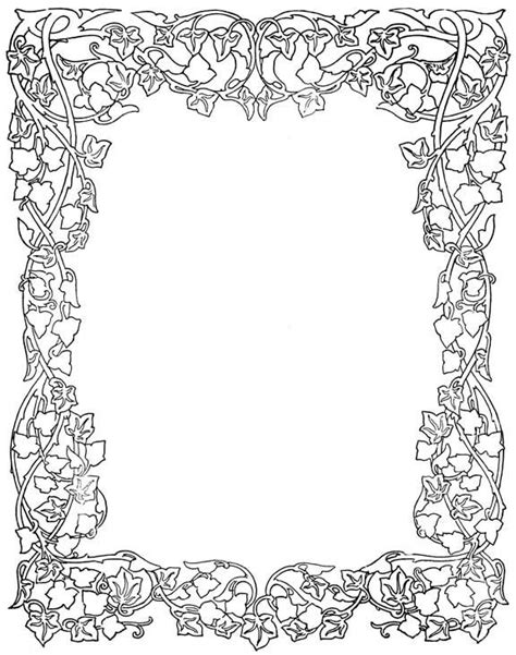 free coloring page borders printable coloring pages of flowers and vines letter